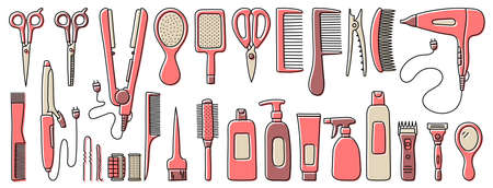 Hairdressing equipment line sketch. Professional hair dresser tools. Hand drawn doodle icons set. Vector illustration. Barber symbols collection. Hairdryer, scissors, comb, mirror, straightener and curler