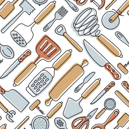 Kitchen knolling seamless pattern. Kitchenware sketch set. Doodle line vector utensils, tools and cutlery. Spatula, spoon, knife, sieve and scissors. Vegetable peeler, whisk and bottle opener Ilustração