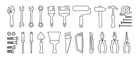 Construction tools vector set. Black line doodle sketch. Adjustable wrench, brush, roller, hammer and nails. Screw, nut and bolt. Tape measure, screwdriver, putty knife, saw, pliers and wire cutters Ilustração