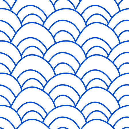 Wave. Seamless pattern. Blue and white texture. Vector illustration. Wrapping paper, textiles. Simple doodle background