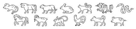 Chinese horoscope. rat, ox, cat, rabbit, hare, tiger, dragon, snake, horse, goat, monkey, rooster, dog and boar. Animal symbols 2022, 2023 vector set. Black line doodle sketch. Editable path