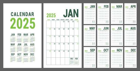 Calendar planner 2025. English calender green template. Vector grid. Office business planning. Creative trendy design