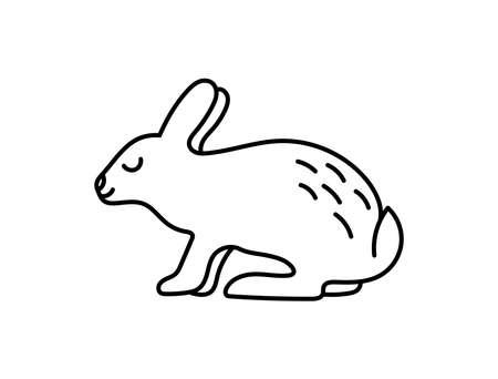 Rabbit. Chinese horoscope 2023 year. Animal symbol vector set. Black line doodle sketch. Editable path. Cartoon hare