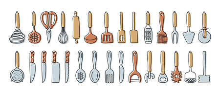 Kitchenware sketch set. Doodle line vector kitchen utensils, tools and cutlery. Whisk, slotted spoon, scissors, rolling pin, ladle and spatula. Sieve, knife, spoon, fork, peeler and opener.