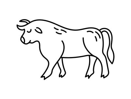 Ox. Chinese horoscope 2021 year. Animal symbol vector. Black line doodle sketch. Editable path. Cartoon bull or cow