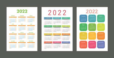 Pocket calendar 2022 year. Portrait orientation. English colorful vector set. Vertical template. Design collection. Week starts on Sunday Ilustração