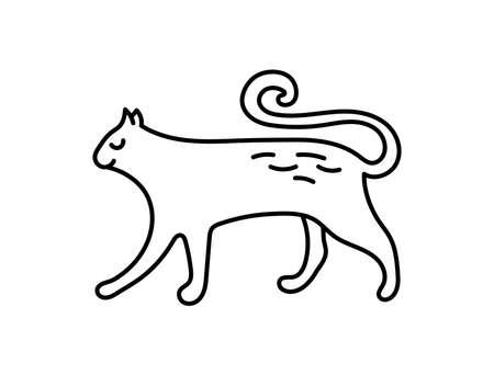 Cat. Chinese horoscope 2023 year. Animal symbol vector illustration. Black line doodle sketch. Editable path Ilustração