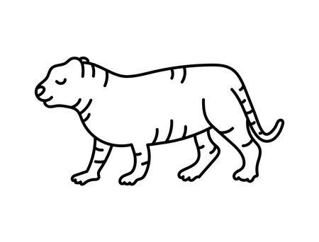 Tiger sketch. Chinese horoscope 2022 year. Animal symbol vector. Black line doodle illustration. Editable path
