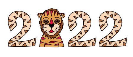 2022 tiger sketch. Chinese New year horoscope. Animal symbol color vector. Lline doodle illustration. Editable path