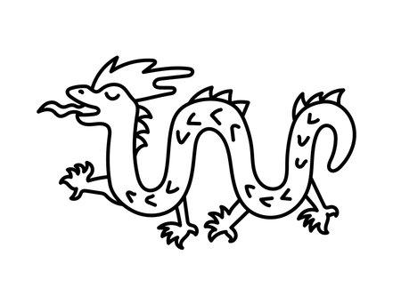 Dragon. Chinese horoscope 2024 year. Animal symbol vector illustration. Black line doodle sketch. Editable path