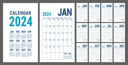 Planner 2024 year. English blue calendar template. Vector grid. Office business planning. Creative design