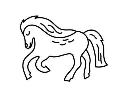 Horse. Chinese horoscope 2026 year. Animal symbol vector illustration. Black line doodle sketch. Editable path