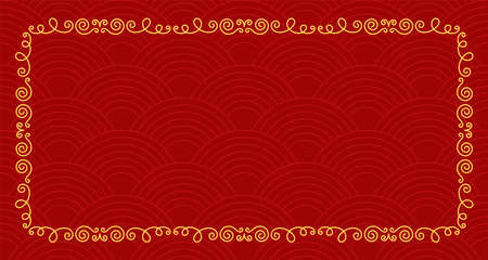 Asian background with the ornamental frame and wave. Line sketch. Golden line. Doodle illustration. Editable path. Red paper