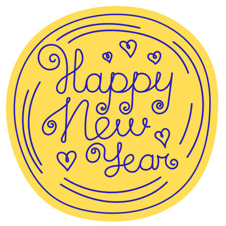 Happy New year. Hand-drawn black and white line doodle print for a balloon or t-shirt. Hearts