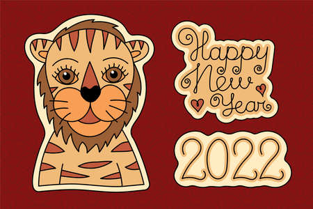 Tiger sketch sticker. Happy New year 2022. Chinese horoscope. Animal symbol vector. Black line. Doodle illustration. Editable path. Red paper. Asian style