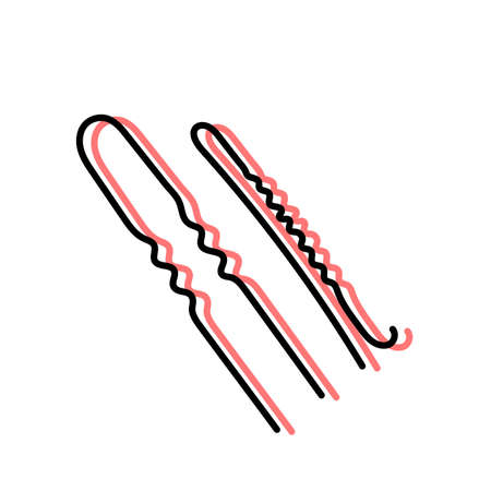 Hairpin and invisibility. Hairdressing equipment line sketch. Professional hair dresser tool. Hand drawn doodle icon. Vector illustration. Barber symbol