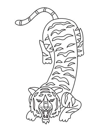 Chinese black line Tiger 2022. Lunar New Year design template. Zodiac sign. Animal silhouette. Horoscope symbol Ilustração