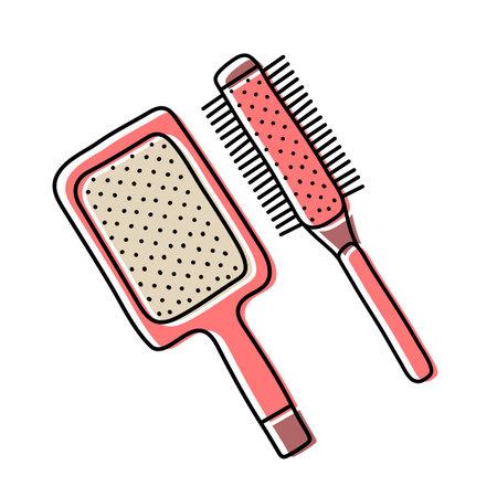 Hairdressing equipment line sketch. Professional hair dresser tool. Hand drawn doodle icon. Vector illustration. Barber symbol Ilustração