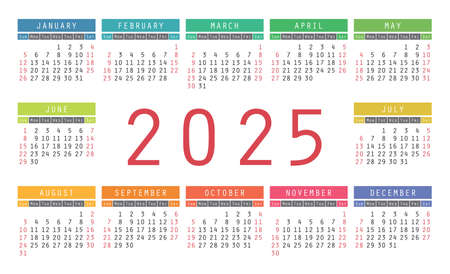 Calendar 2025 year. English colorful vector horizontal wall or pocket calender design template. New year. Week starts on Sunday