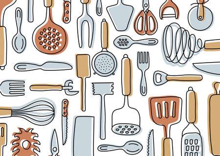 Kitchen knolling. Kitchenware sketch set. Doodle line vector utensils, tools and cutlery. Spatula, spoon, knife, sieve and scissors. Vegetable peeler, whisk and bottle opener Ilustração
