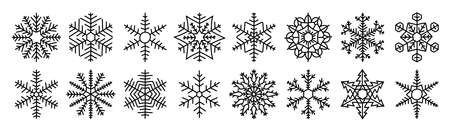 Snowflake sketch set. Black line doodle icon collection for New year or christmas. Snow and frost. Vector outline illustration Ilustração