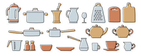 Kitchenware sketch set. Doodle line vector kitchen utensils and tools. Kettle, saucepan, ladle, cezve, plate, cup and bowl. Hand drawn illustration