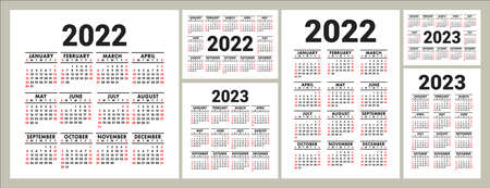 Calendars for 2022 and 2023 years. English vector square, horizontal and vertical wall or pocket calender design template. New year. Week starts on Sunday
