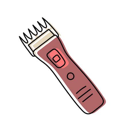 Clipper. Hairdressing equipment line sketch. Professional hair dresser tool. Hand drawn doodle icon. Vector illustration. Barber symbol Ilustração