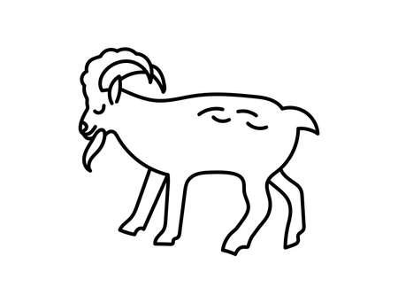 Goat. Chinese horoscope 2027 year. Animal symbol vector illustration. Black line doodle sketch. Editable path