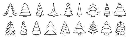 Christmas tree sketch set. Black line doodle icon collection for New year. Vector outline illustrations for greeting cards Ilustração