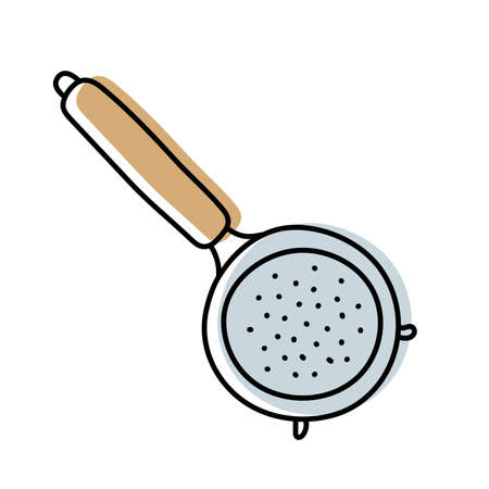 Sieve. Kitchenware sketch. Doodle line vector kitchen utensil and tool. Cutlery illustration