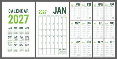 Calendar planner 2027. English calender green template. Vector grid. Office business planning. Creative trendy design Ilustração