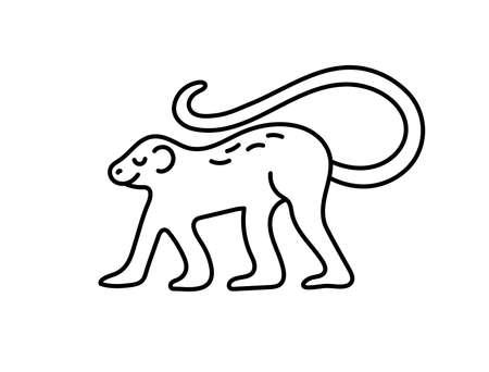 Monkey. Chinese horoscope 2028 year. Animal symbol vector illustration. Black line doodle sketch. Editable path
