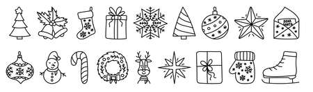 Christmas tree sketch. Black doodle line web icon set. New Year festive vector collection. Handdrawn vector outline illustrations for greeting card. Bell, snowflake, ball and star. Gift and snowman