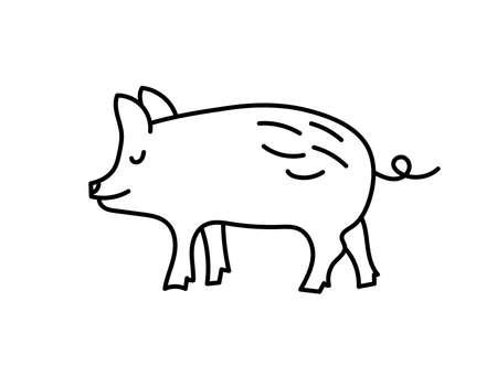 Pig sketch. Chinese horoscope 2031 year. Animal symbol vector illustration. Black line doodle. Editable path