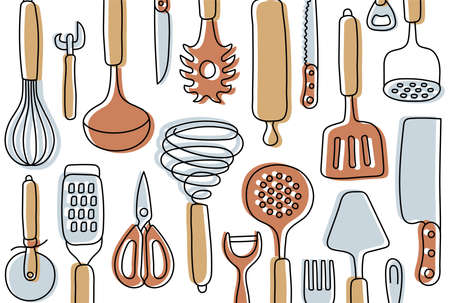 Kitchen knolling. Kitchenware sketch set. Doodle line vector utensils, tools and cutlery. Whisk, slotted spoon, scissors, rolling pin, ladle and spatula. Sieve, knife, spoon, fork, peeler and opener.