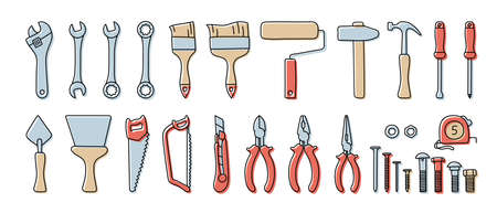 Construction tools vector set. Color doodle sketch. Adjustable wrench, brush, roller, hammer and nails. Screw, nut and bolt. Tape measure, screwdriver, putty knife, saw, pliers and wire cutters