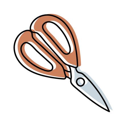 Scissors. Kitchenware sketch. Doodle line vector kitchen utensil and tool. Cutlery illustration Ilustração