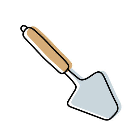 Spatula. Kitchenware sketch. Doodle line vector kitchen utensil and tool. Cutlery illustration