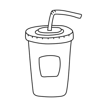 Cup of soda drink. Fast food sketch. Cartoon black and white line illustration. Vector hand drawn icon for restaurant menu or coloring book for kids
