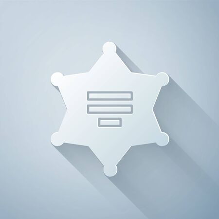 Paper cut Hexagram sheriff icon isolated on grey background. Police badge icon. Paper art style. Vector Illustration