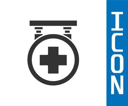 Grey Hospital signboard icon isolated on white background. Vector Illustration Ilustracja