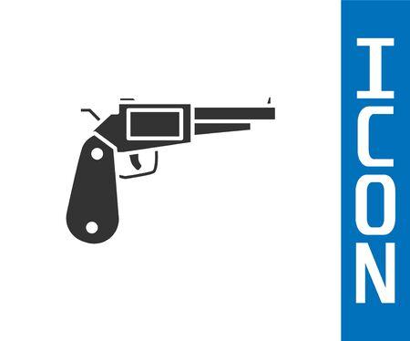 Grey Revolver gun icon isolated on white background. Vector Illustration