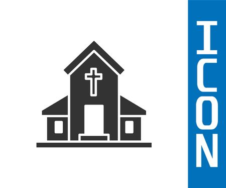 Grey Church building icon isolated on white background. Christian Church. Religion of church. Vector Illustration Ilustrace