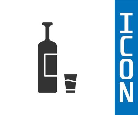 Grey Whiskey bottle and glass icon isolated on white background.  Vector Illustration 向量圖像