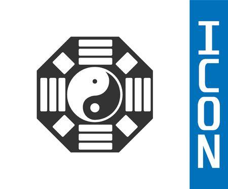 Symbole gris Yin Yang de l'icône d'harmonie et d'équilibre isolé sur fond blanc. Illustration vectorielle Vecteurs