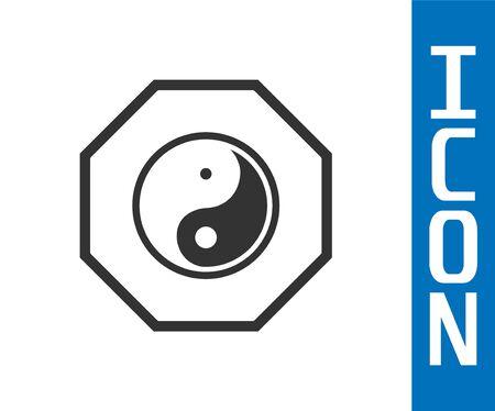 Grey Yin Yang symbol of harmony and balance icon isolated on white background. Vector Illustration