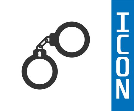 Grey Handcuffs icon isolated on white background. Vector Illustration Stock Illustratie