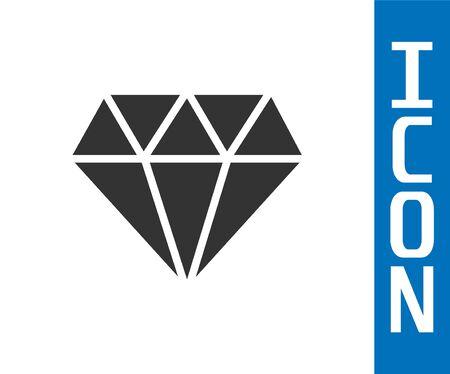 Grey Diamond icon isolated on white background. Jewelry symbol. Gem stone. Vector Illustration