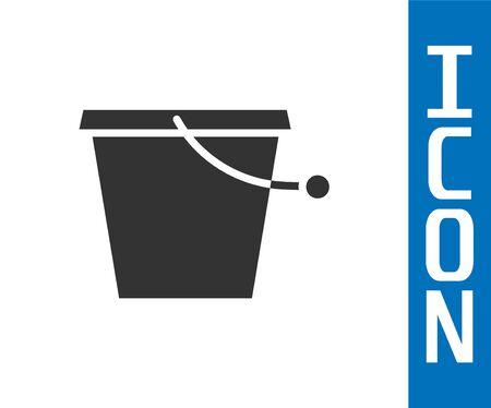 Grey Bucket icon isolated on white background. Vector Illustration Illustration
